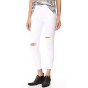 AGOLDE White High Rise Crop Destruct Skinny Jeans